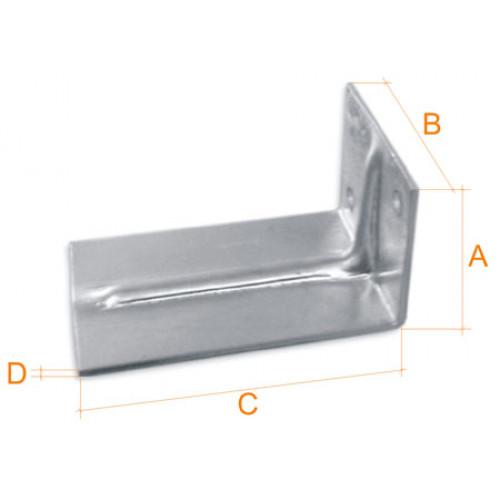 Купить Кронштейн алюминиевый 2,0 мм 50х68х140 мм, шт