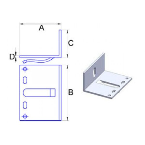 Кронштейн самозажимной алюмин. 3мм, 60х80х40мм, шт